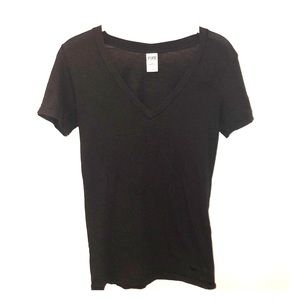 PINK VICTORIA'S SECRET Black V Neck Tee Shirt